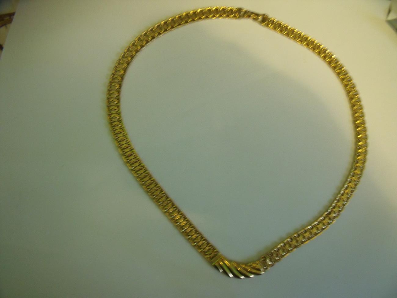 Monet goldtone flexible with center chevron necklace