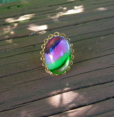 Vintage large Glass Ring Striped Art Glass Colorful Gem