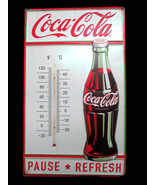 Coca-Cola Embossed Tin Thermometer Sign Pause Refresh Contour Bottle- BR... - $32.67