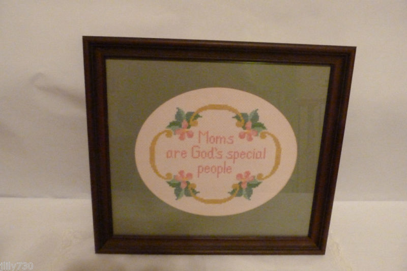 "Mother's Day! Framed Art Needlepoint Embroidery ""Moms Are God's Special People"""