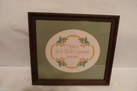 "Mother's Day! Framed Art Needlepoint Embroidery ""Moms Are God's Special ... - $79.98"