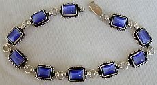 Blue cat eye silver bracelet