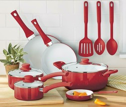 Cookware Set Ceramic Nonstick 12 Piece Kitchen Pots and Pans Lids Red Ut... - $58.46