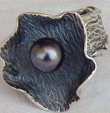 Black pearl hand made ring HMA