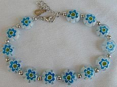Primary image for Light blue morano flowers bracelet