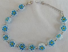 Light blue morano flowers bracelet