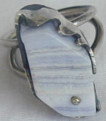 Blue&white marble ring
