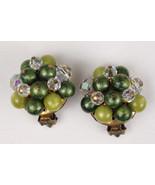 Vintage Green Pin Set Fruit Salad Earrings Clips - $15.00