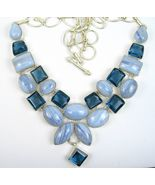 Blue Lace Agate cabochons + faceted Blue Tourma... - $352.32