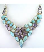 Caribbean Blue Larimar and faceted Lilac Amethy... - $352.32