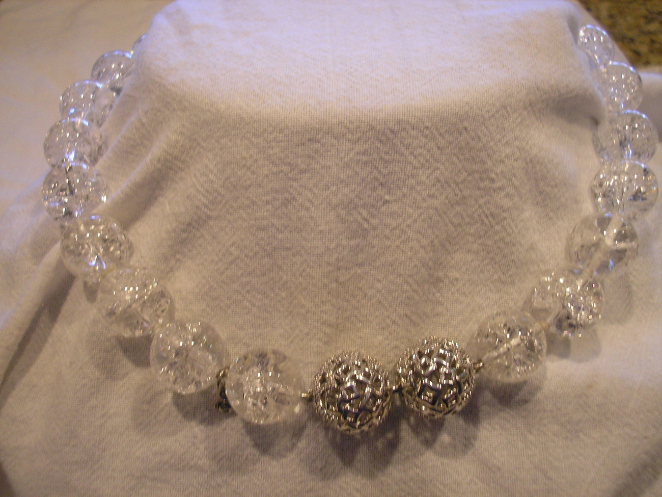 Primary image for Yurman 18in Rutilated 16mm Crystal Beads Necklace & 2 Silver Diamond Clasps