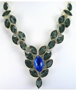 Faceted Marquis Blue Fire Topaz and Blue - Grey Quartz Sterling Silver N... - $271.68