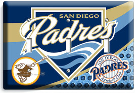 SAN DIEGO PADRES BASEBALL TEAM 3 GANG LIGHT SWITCH PLATES MAN CAVE ROOM ... - $17.99