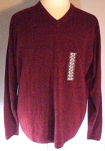 Geoffrey Beene Sweater Mens V-Neck Long Sleeve Size XL Dark Berry Red - $38.95