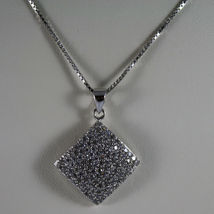 .925 SILVER RHODIUM NECKLACE WITH RHOMBUS WITH ZIRCONIA AND VENETIAN MESH image 3
