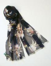 NEW  Ralph Lauren Black Floral Silk Chiffon Scarf - $27.32