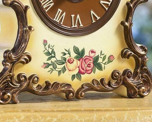Antique Style Floral Table Clock W/ Gilded Trim