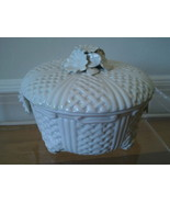 Vintage Charming Italian White Ceramic Basket-P... - $27.00