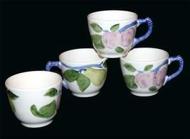 4 VTG Franciscan FRESH FRUIT Plums & Pears Cups Blue Handle Unused Engla... - $26.99