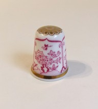 Japan Spode Thimble Vintage Fine Bone China England Red White Gold Trim - $20.00
