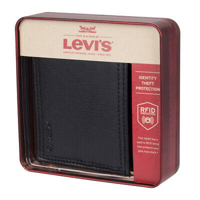 Levi's Men's Rfid Extra Capacity Zipper Coin Credit Card ID Bifold Wallet Black