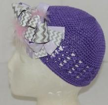 Unbranded Infant Toddler Purple Hat Stretch Removable Bow Multicolor image 2
