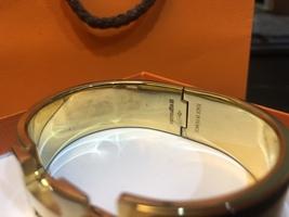 Authentic HERMES Clic Clac Wide Bracelet H BLACK GOLD HW SZ M Bangle  image 13