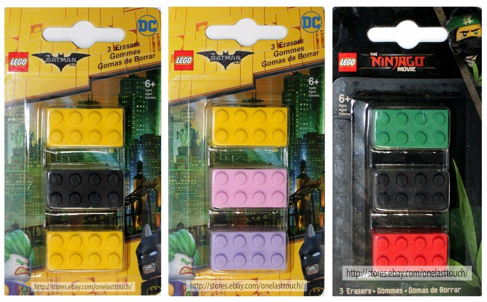 SANTOKI* 3pc LEGO MOVIE Brick Shaped Erasers BATMAN+NINJAGO New! *YOU CHOOSE*
