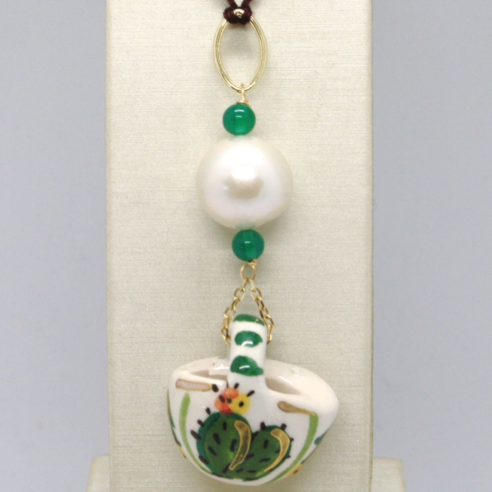 PENDANT YELLOW GOLD 18K 750 WITH PEARL QUARTZ GREEN AND CERAMICS MADE IN ITALY