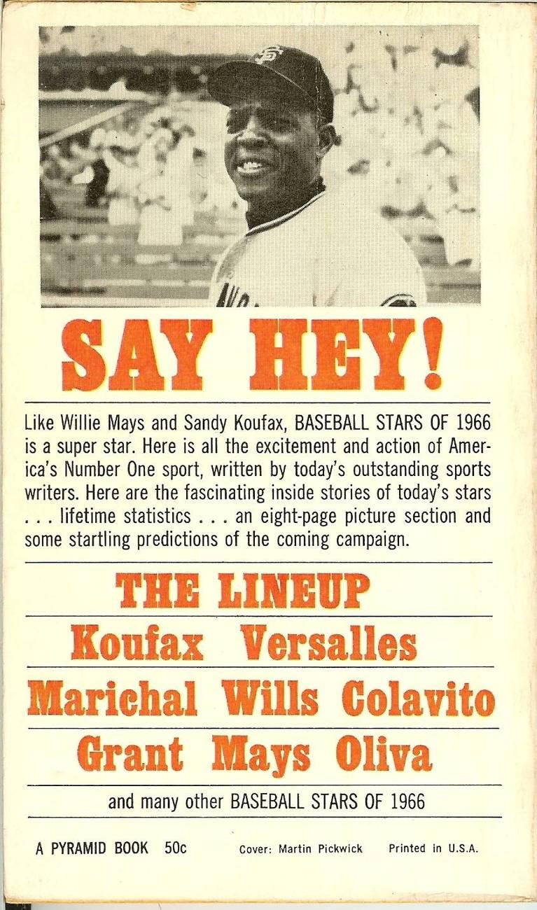 baseball stars of 1966 dodger sandy koufax on cover near mint shape image 2