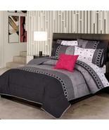 Grey Oxford Stripes and Circles Reversible Comforter Set KING Size 4PCS - $160.28