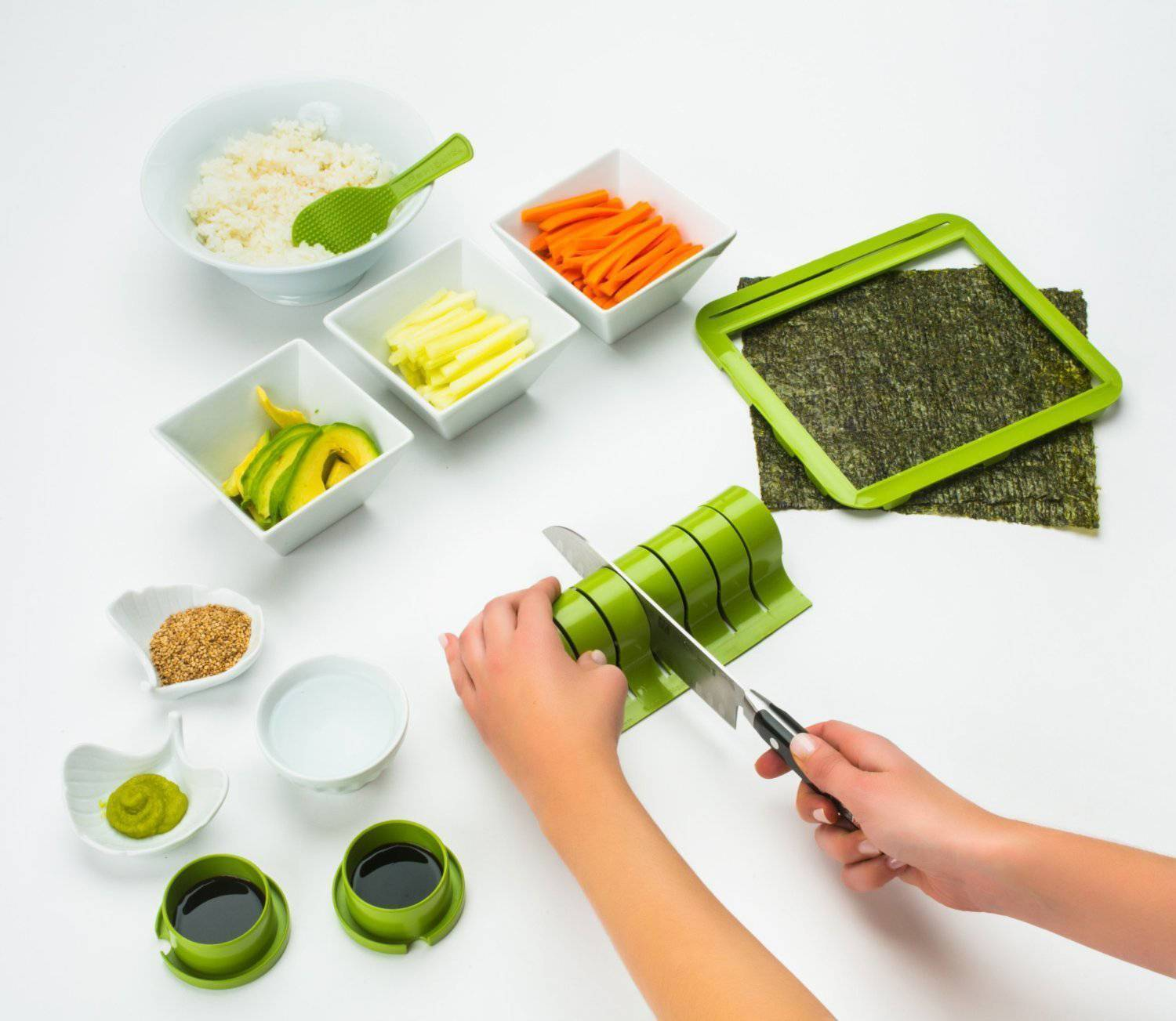 Sushi Making Kit DIY Easy Sushi Maker Machine Set Rice Roller Mold Cutter