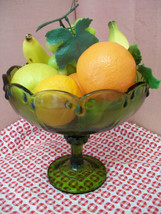 Garland Tall Bowl Olive Green from Indiana Glass - $15.00