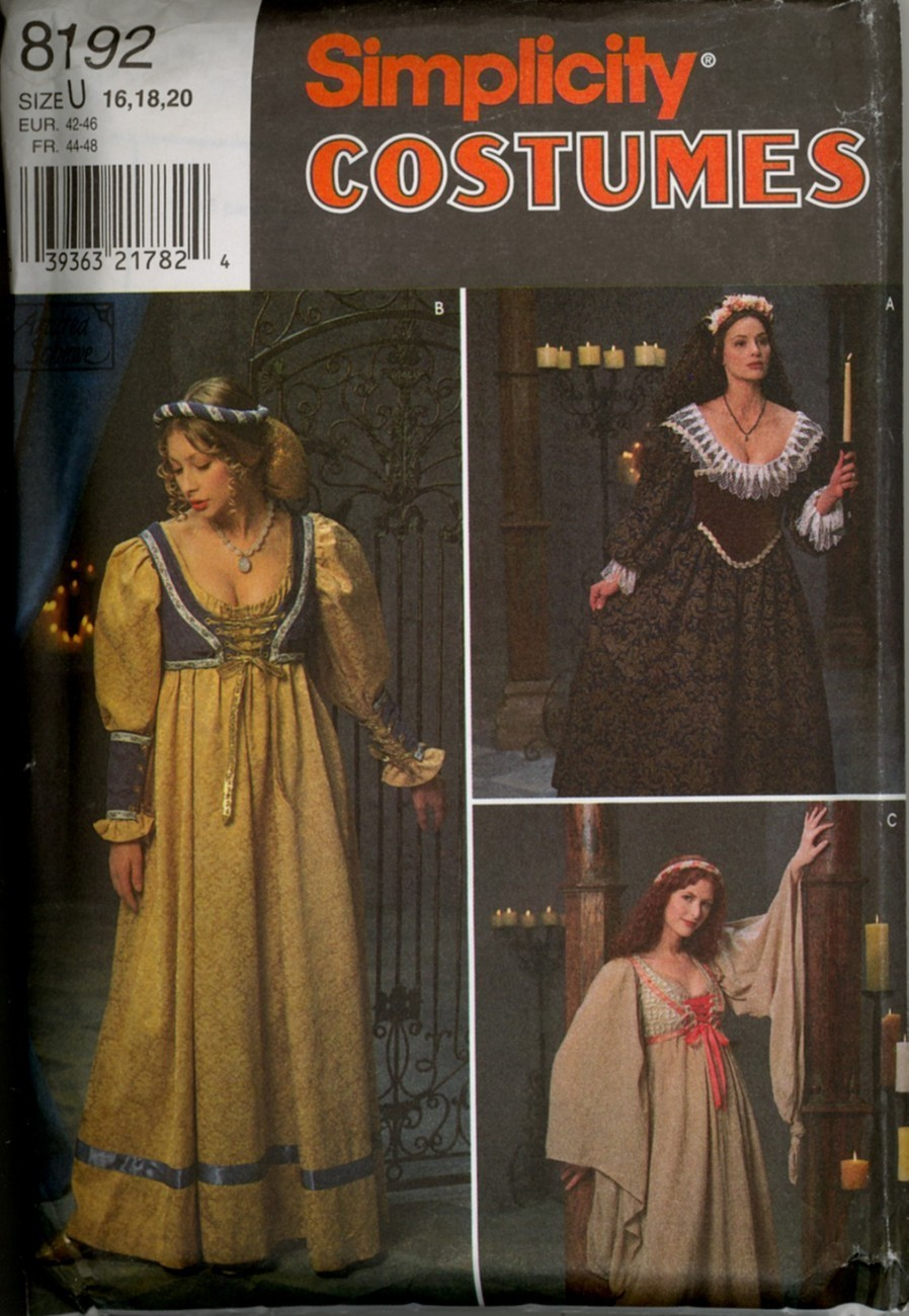 Medieval Renaissance Fantasy Dress Pattern Size 16 18 20 New