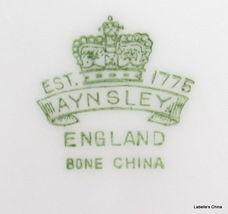"Aynsley England 8"" Salad Plate Green Flowers 7359 English Bone China Gilt Trim image 4"