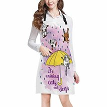 InterestPrint Funny Watercolor It's Raining Cats and Dogs Chef Kitchen A... - $19.79