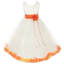 Ivory Satin Bodice Layers Tulle Skirt Orange Flower Ribbon Brooch and Petals - $48.00