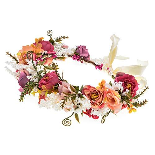 Adjustable Flower Headband Hair Wreath Floral Garland Crown Headpiece with Ribbo
