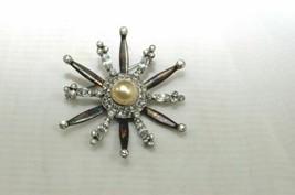 Vintage MAZER Brooch Designer Signed Sterling Silver Rhinestone - $50.00