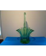 "Ducan & Miller emerald green 9 ""  glass brides basket. - $15.00"