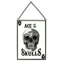 Cabinet of Curiosities Glass Wall Sign Ace of Skulls Brand New Novelty Gift - $14.70