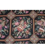 Huge Retro Vintage Wool Needlepoint Rug Roses Patchwork Design Handmade - $700.00