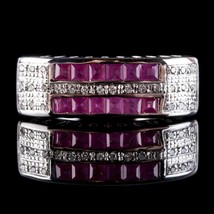Vintage 1960's 18k White Gold Square Cut Ruby & Diamond Cocktail Ring .6... - $705.00