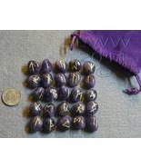 Amethyst Gem Stone Futhark Rune Set hand carved - $24.75