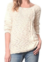 Anthropologie Skewed Cable Pullover Medium 6 8 Ivory Top Sweater Soft Co... - $58.65