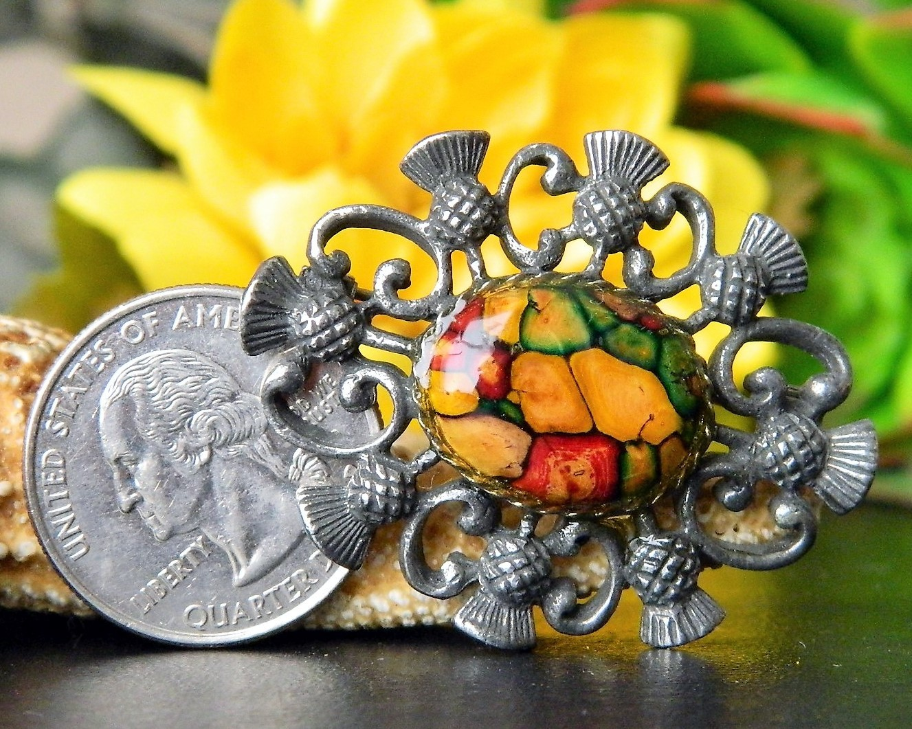 Vintage Celtic Scottish Thistle Brooch Pin Pewter Heathergems Cabochon