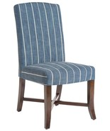 Dining Chair Mercer Revere Indigo Blue Stripe Fabric Dark - $849.00