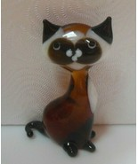 """Vintage Root Beer Color & White Art Glass Cat Figurine 1.7/8"""" Tall - $13.99"""