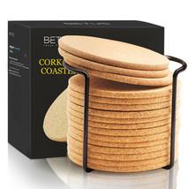 "BETUS Round Cork Coasters 16pc Bulk Set with Metal Holder - 4"" Diameter - $15.79"