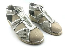 MICHAEL KORS Women's Sandals Cate Jill Silver Chrome Damita Wedge Sz 4.5-5 $120 - $31.47
